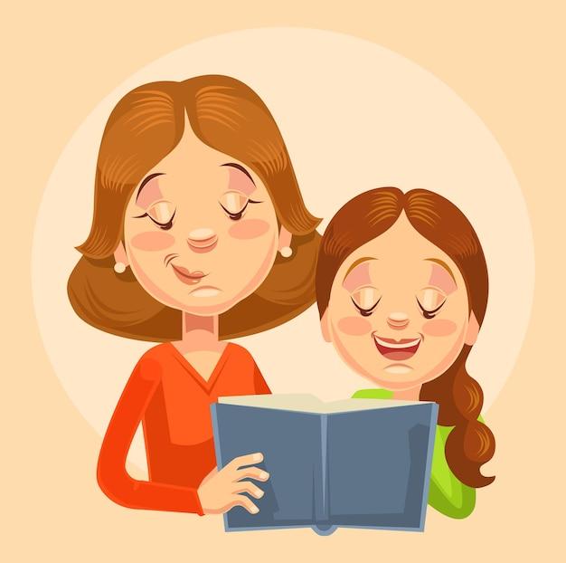 Mutter und tochter zeichen lesen. flache karikaturillustration