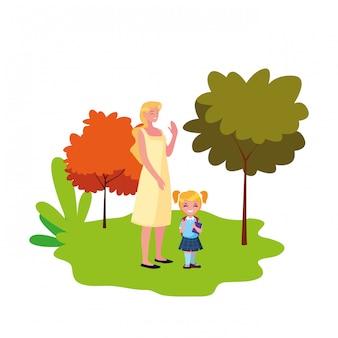 Mutter- und tochterstudent draußen zurück zu schule