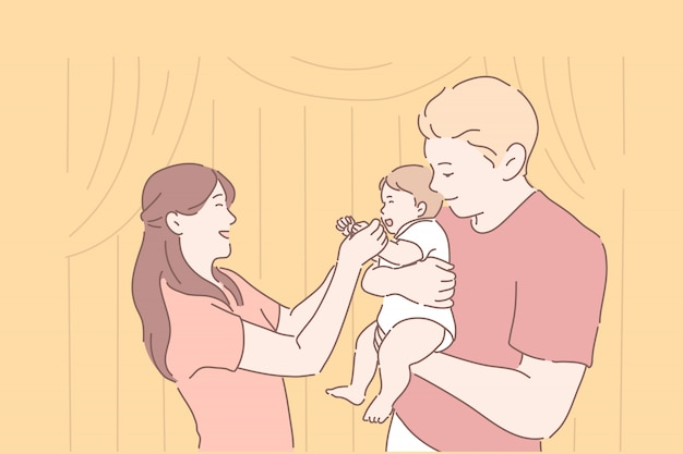 Mutter und vater, die lächelndes baby halten.