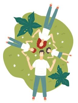 Mutter und vater mit kindern, die auf gras legen. eltern und kinder, die sommerferien oder ferien haben. jungen und mädchen mit mama und papa, geschwister auf dem land. vektor in der flachen artillustration