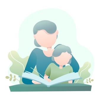 Mutter unterrichtet ihre tochter, die eine buch-illustration liest