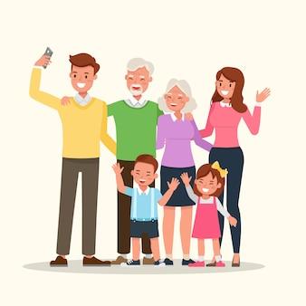Mutter, vater, großeltern und kinder zusammen.