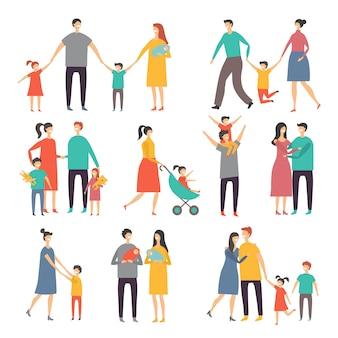 Mutter, vater und kinder. illustrationen der glücklichen familie. bilder des lebensstils