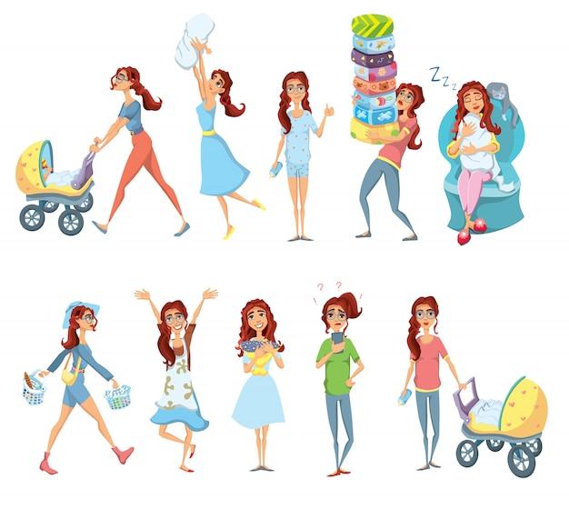 Muttercharakter-illustrationssatz