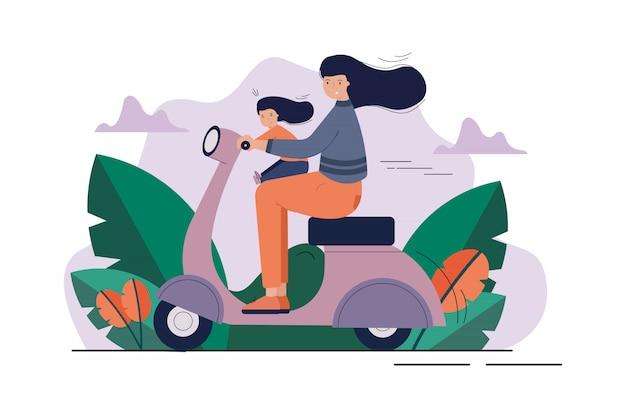 Mutterschaft, kindheit, motorradfahren, erholung, aktivitätskonzept