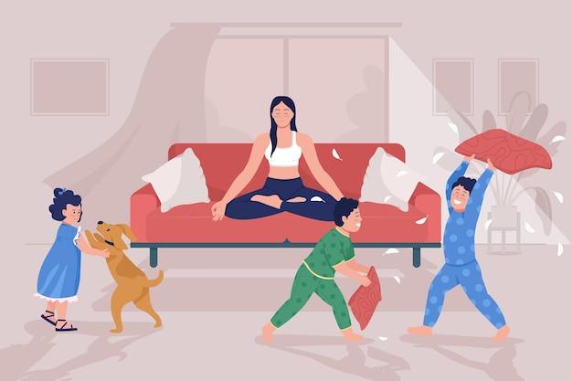 Mutterschaft stress flache farbvektorillustration. kinder spielen und machen chaos. ruhige frau, umgeben von lauten kindern. familie 2d-zeichentrickfiguren mit inneneinrichtung im hintergrund