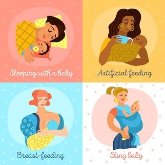 Mutterschaft zeichen festgelegt Kostenlosen Vektoren