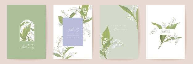 Muttertag aquarell kartenset. gruß mama minimales postkartendesign. vektor weiße lilie blumen vorlage. frühlingsblumenstrauß-typografie. frau moderne broschüre