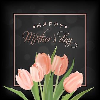 Muttertag-banner-vorlage mit tulpen-blumen. muttertag urlaub blumengrußkarte für flyer, broschüre, verkauf frühling rabatt vorlage. vektor-illustration