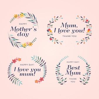 Muttertag-etikettensatz mit flachem design