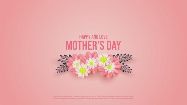 Muttertag hintergrund mit illustrationen von rosa blumen.