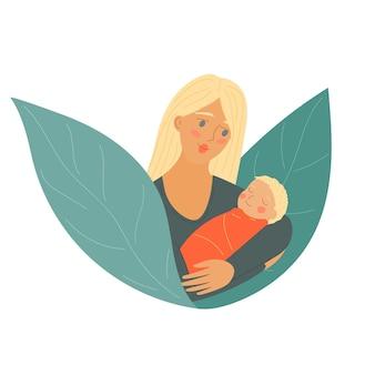 Muttertag mutter mit baby kind frau mit neugeborenem elternteil hält das kind im arm s