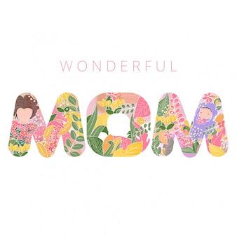 Muttertag-wald-themenorientierte typografie-zeichen mamma mit baby