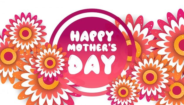 Muttertaggrußkarte mit blütenorigami blüht