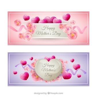Muttertags-banner mit niedlichen blumen und herzen