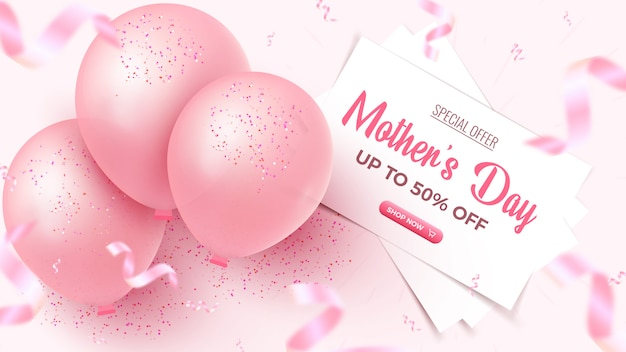 Muttertags-sonderangebot. 50 prozent rabatt auf sale banner design mit weißen blättern, rosa luftballons, fallenden folienkonfetti auf rosigem hintergrund. muttertagsvorlage.