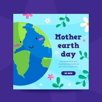 Muttertagsfahne im flachen design