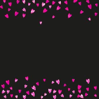 Muttertagshintergrund mit rosa glitzerkonfetti. isoliertes herzsymbol in rosa farbe. postkarte zum muttertag. liebesthema für gutschein, spezielles geschäftsbanner. frauenurlaubsvorlage
