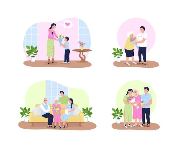 Muttertagsillustrationssatz