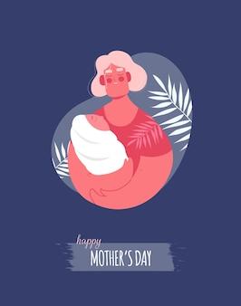 Muttertagskarte mit mutter und baby in den händen Premium Vektoren