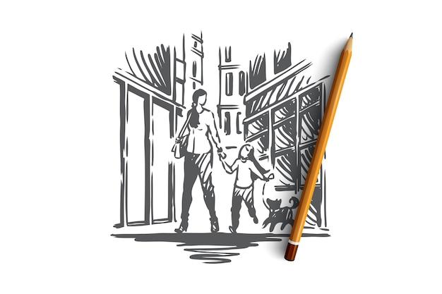 Muttertagskonzept. mutter, tochter und hund gehen zusammen. hand gezeichnete skizzenillustration