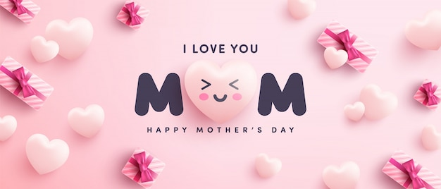 Muttertagsplakat oder fahne mit süßen herzen und geschenkbox auf rosa hintergrund. promotion- und einkaufsschablone oder hintergrund für liebes- und muttertagskonzept
