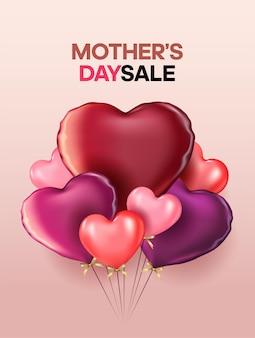 Muttertagsplakat oder fahne mit süßen herzen