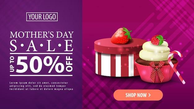Muttertagsverkauf, horizontale fahne des modernen purpurroten rabattes