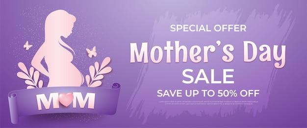 Muttertagsverkauf in der silhouette einer schwangeren frau