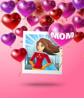 Muttertagszusammensetzung von herzförmigen ballons quadratisches foto