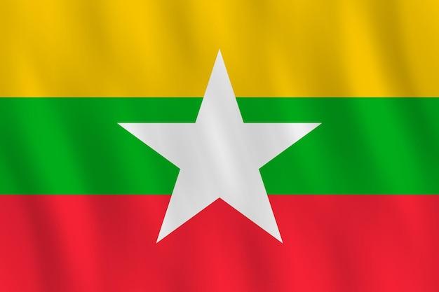 Myanmar-flagge mit wehender wirkung, offizieller anteil.