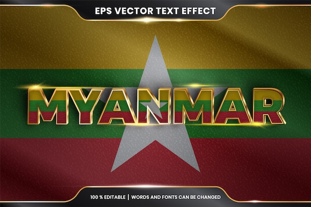 Myanmar mit seiner nationalflagge, bearbeitbarer texteffekt mit goldfarbstil