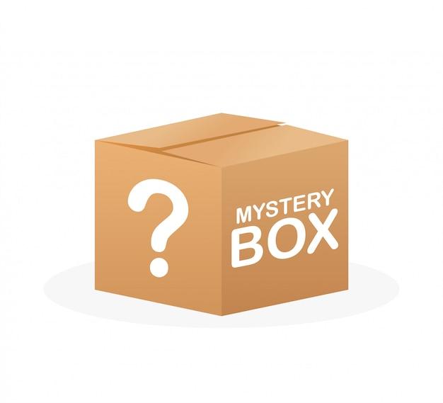 Mysteriöse schachtel. verpackung für die konzeption. überraschungsgeschenk. paketdesign. hilfesymbol. fragezeichen-symbol. lager illustration.