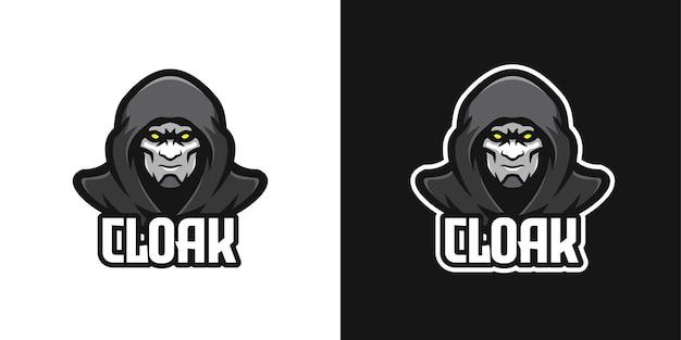 Mysteriöser verhüllter mann maskottchen-charakter-logo-vorlage