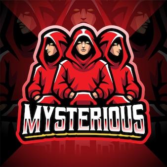 Mysteriöses esport-maskottchen-logo-design Premium Vektoren