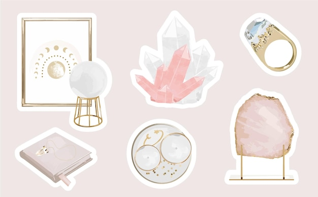 Mystic sticker set mit femininen magischen elementen und kristallen