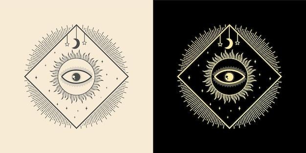 Mystisch alles sehende auge handgezeichnet magische hexerei talisman magische esoterische augen heilige geometrie