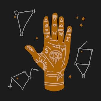 Mystische darstellung der mudra-hand mit sternzeichen. astrologisches und esoterisches konzept. heromantie mit dem allsehenden auge. geheimnisvolle illustrationen