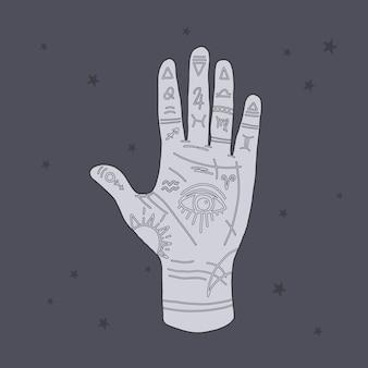 Mystische darstellung der mudra-hand mit sternzeichen. astrologisches und esoterisches konzept. heromantie mit dem allsehenden auge.