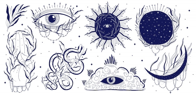 Mystische gesetzte illustration