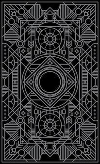 Mystische karte mit geometrischen linienformen spielen.
