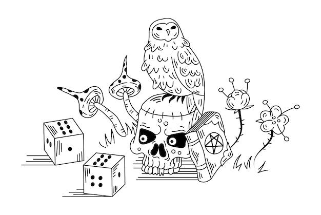 Mystische komposition mit eule und totenkopf. gezeichnete gekritzelillustration des vektors hand