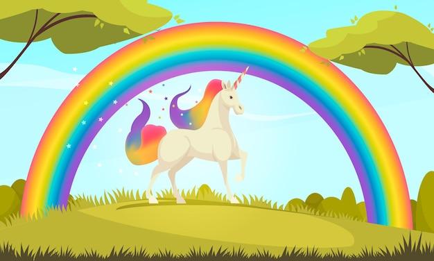 Mystische kreaturen flacher cartoon des weißen einhorns unter dem regenbogen