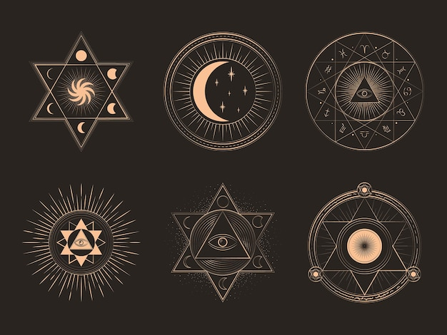 Mystische magische elemente