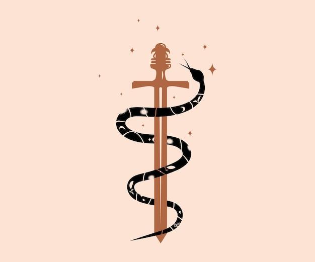 Mystische magische schlange umhüllt ein schwertdesign mit mondsternen und blumenmuster