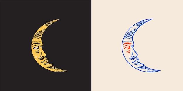 Mystische mondastronomie-alchemie und astrologiesymbol magisches gesicht vektorillustration hand gezeichnet