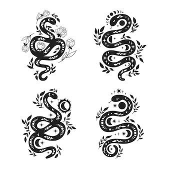 Mystische schlangen-silhouette-bündel.