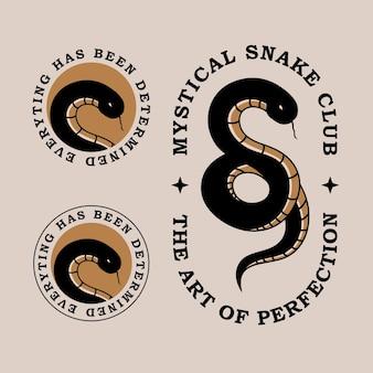 Mystische schlangen-vintage-logo-vorlage