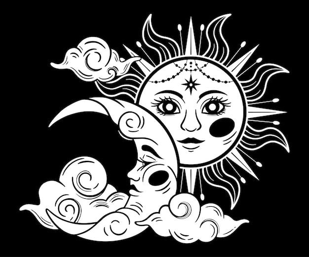 Mystische sonne und mond mit gesicht für tarot-astrologie himmels-alchemie-tierkreis