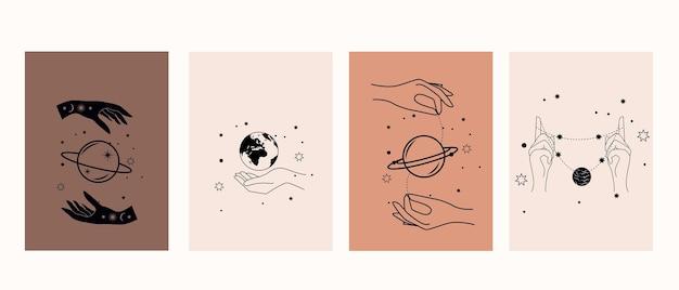 Mystische symbole mit händen, augen, sonne und mond. sammlung magischer plakate